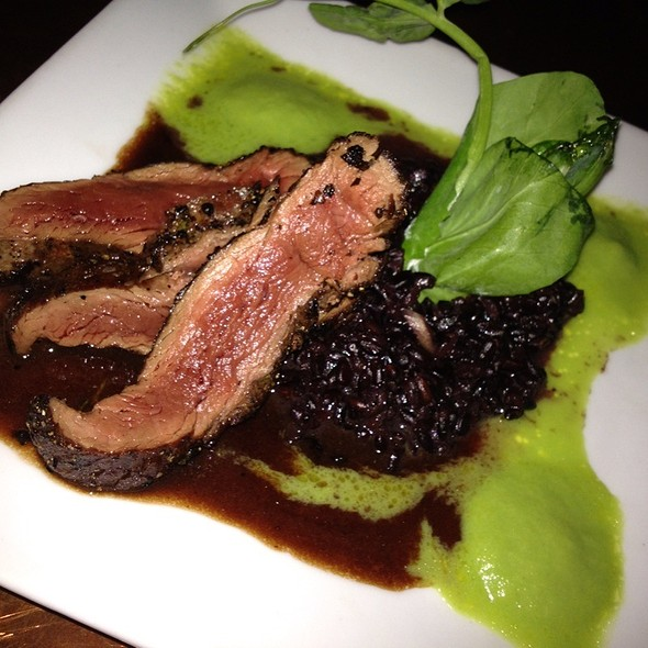 Marinated Vermont Emu Fan Filet With Black Venus Rice, Sorrel Crean And Cherry Demi-Glace - Black Trumpet, Portsmouth, NH
