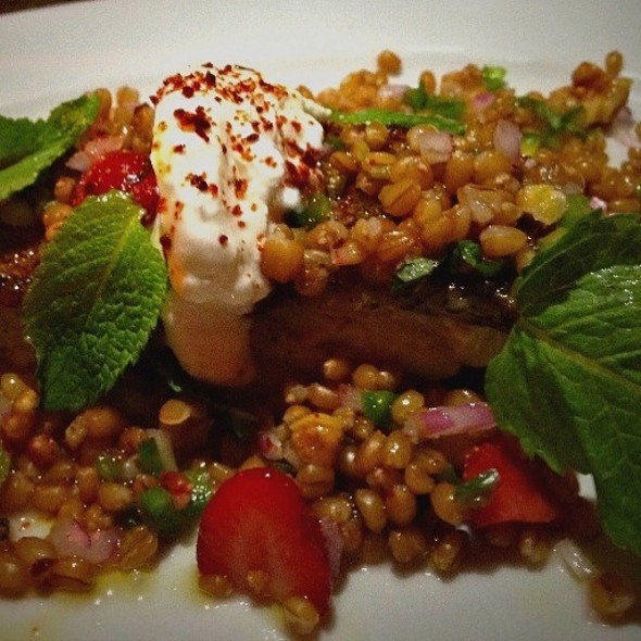 Tile Fish With Rye Berries, Jalapeno, Strawberries And Yorgutb @ Five Points