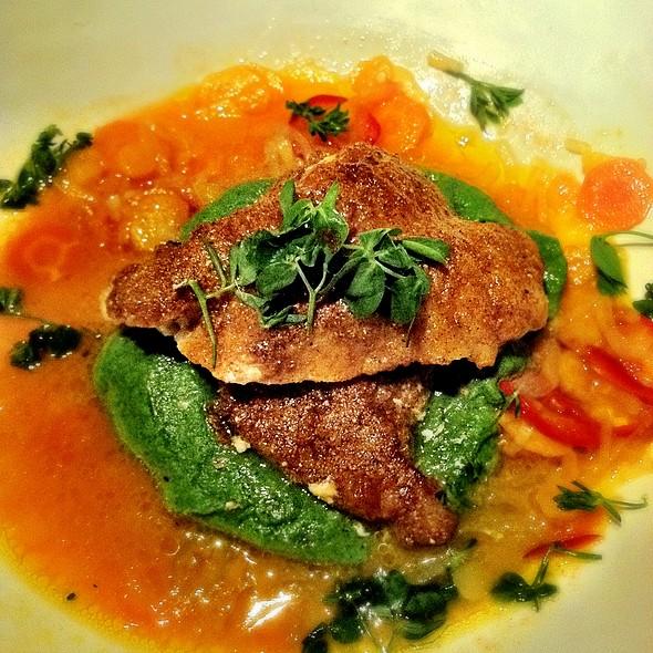 Spice crusted monkfish, pea puree and carrot vinaigrette @ ABC Kitchen