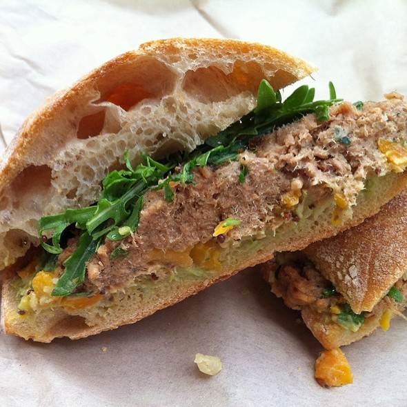 Pork Confit Sandwich With Carrot Mostarda & Fava Puree On Ciabatta @ Salumeria