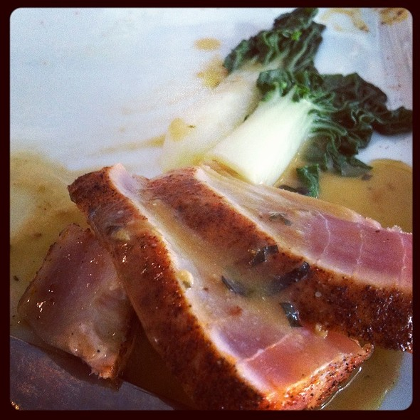 Pan Seared Yellow Fin Tuna With Wasabi Beurre Blanc @ Lemongrass a thai bistro