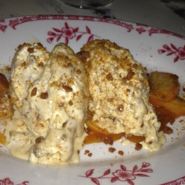 Bread Crumb semifreddo with Texas peaches @ Lucia