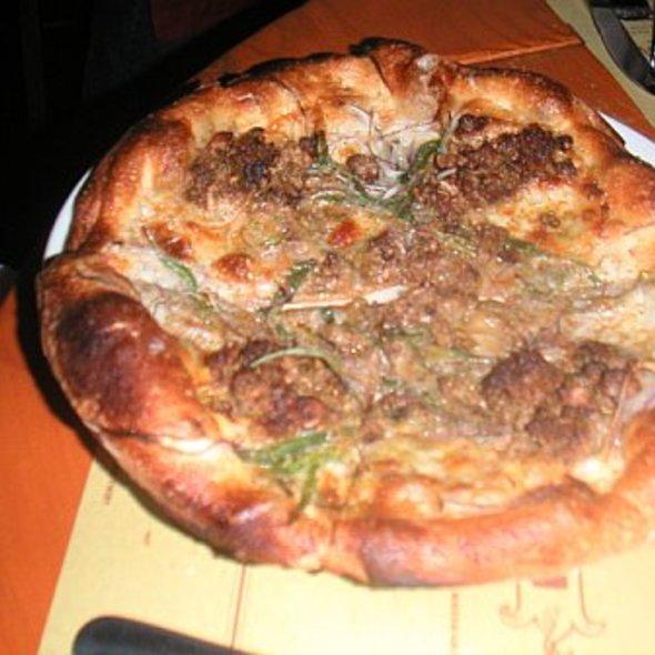 Fennel sausage, panna, red onion & scallions pizza @ Pizzeria Mozza