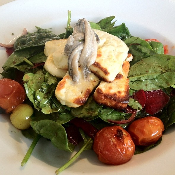 Haloumi Salad With White Anchovies, Roasted Cherry Tomatoes, Beetroot