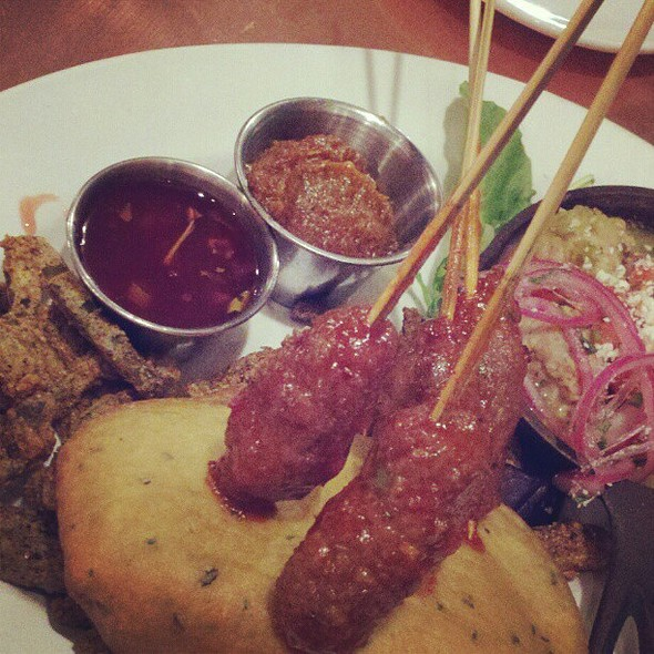cactus fries, rattlesnake meatballs, & buffalo skewers @ Cowboy Club Grille & Spirits