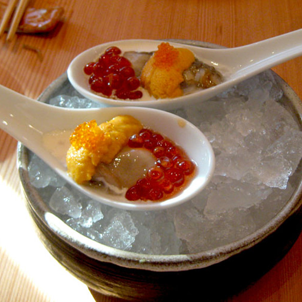 Raw oyster and uni shooter @ Pabu Restaurant