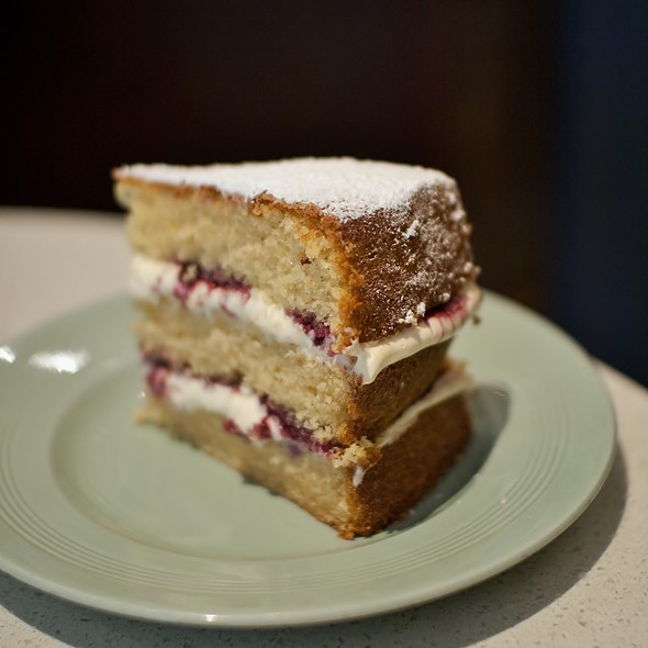 Old-fashioned Vanilla Cake with Cream and Raspberry Coulis @ Flour & Stone