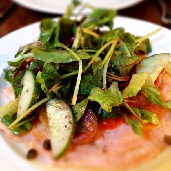 Flash Cooked B.C. Organic Salmon, Sleger's Living Greens, Oven-Kissed Tomatoes, Fried Capers & Black Olive Dressing. @ Ruby Watchco