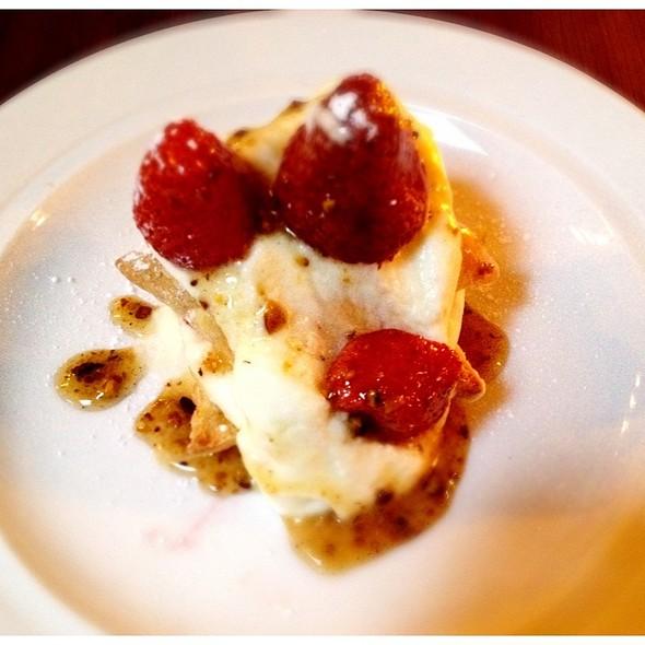 Roasted Ontario Strawberry Napoleon With Pistachio Honey.  @ Ruby Watchco