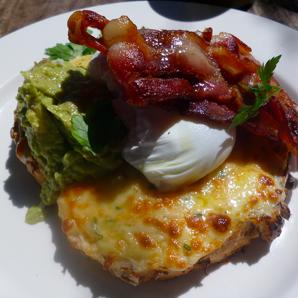 Herb, Cheesy Toast, Poached Eggs, Bacon and Avocado @ Friends of Mine