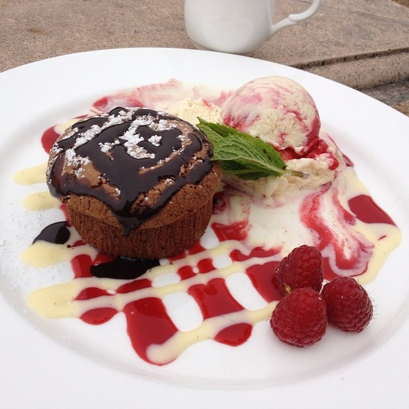 Chocolate Lava Cake With Raspberry Port Ice Cream @ Pebble Beach Resorts: Inn at Spanish Bay