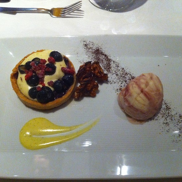 Blueberry Tart And Cherry Swirl Ice Cream, Chocolate Covered Candied Walnuts And Creamed Honey Custard @ The Kitchen Restaurant