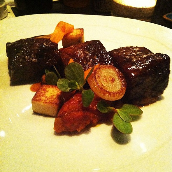 short ribs, carrot jam, mustard soubrie, date at aziza  #sfchefs @ Aziza