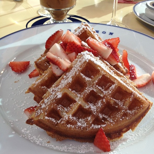Sourdough Waffles w/fresh strawberries @ Bouchon Bistro