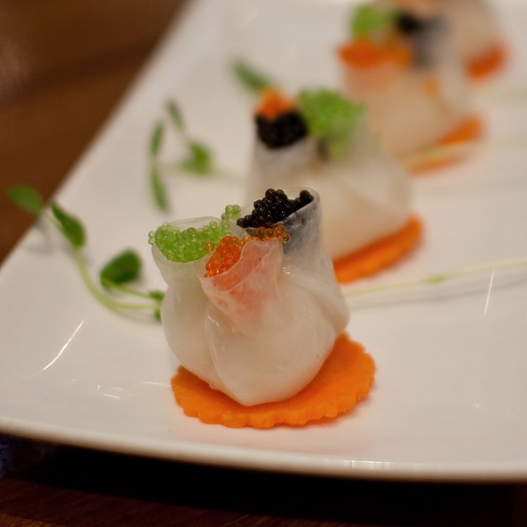 Trillium prawn dumplings with 3 coloured fish roe and caviar @ Chefs Gallery