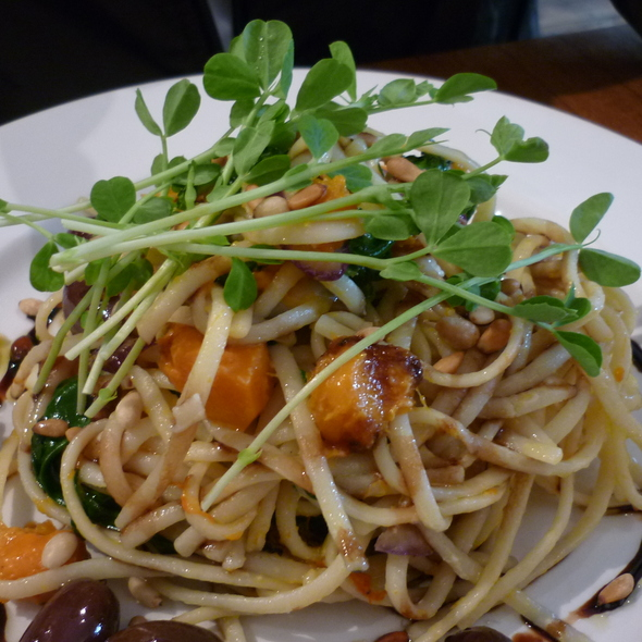 Linguini Pasta with roast pumpkin, kalamata olives, spinach & goats cheese dressed with pine nuts & balsamic reduction @ Fresh Espresso & Food Bar