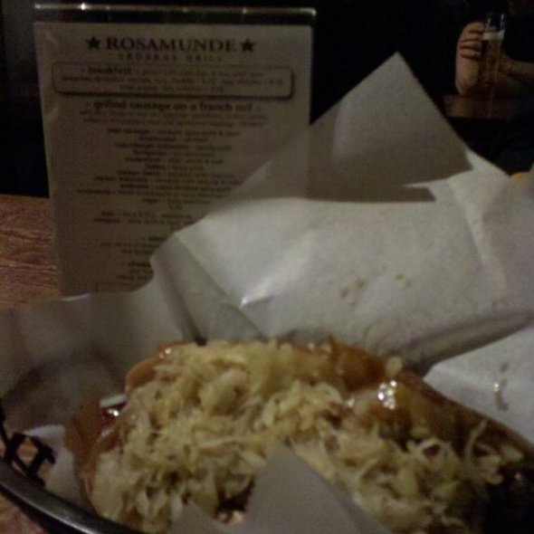 Beer Sausage with Sauerkraut and Grilled Onions @ Rosamunde Sausage Grill
