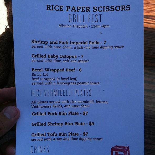 pop up menu #popup @ Rice Paper Scissors
