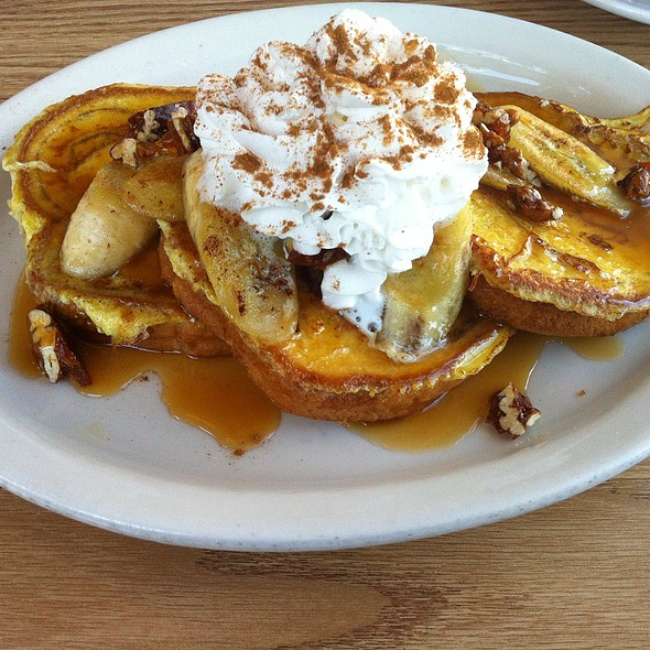 Challah French Toast with Caramelized Banana and Candied Pecans  @ Broken Egg