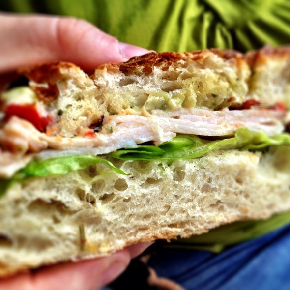 Turkey, Roasted Red Peppers & Pesto Mayo @ Ruby Eats