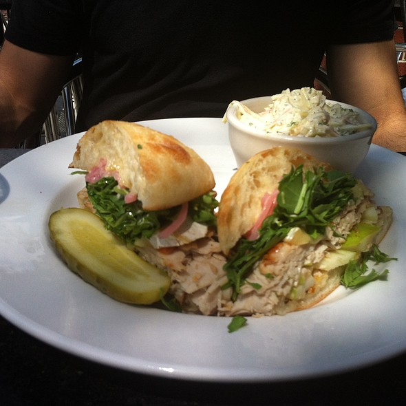 Turkey and Brie Sandwich with Green Apple, Arugula, Red Onion & Mustard on Ciabatta Roll @ Toast Birmingham
