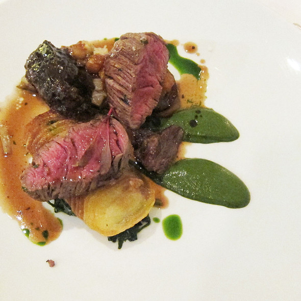 Roast beef fillet with braised beef cheek, miso eggplant kohlrabi and Warrigal Greens puree @ Restaurant Assiette