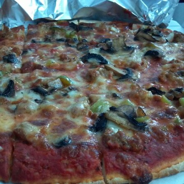 Sausage, Black Olive And Green Pepper Pizza @ Marie's Liquor & Pizza