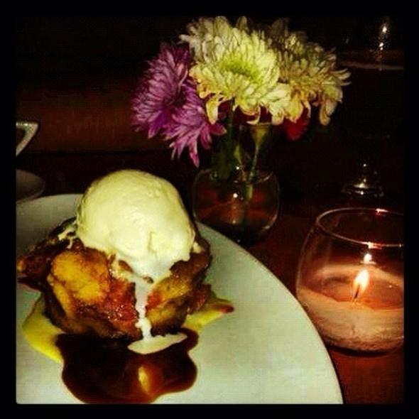 Fresh Raspberry + White Chocolate Bread Pudding Bourbon Caramel, Vanilla Bean Gelato - Benchmark Restaurant, Brooklyn, NY