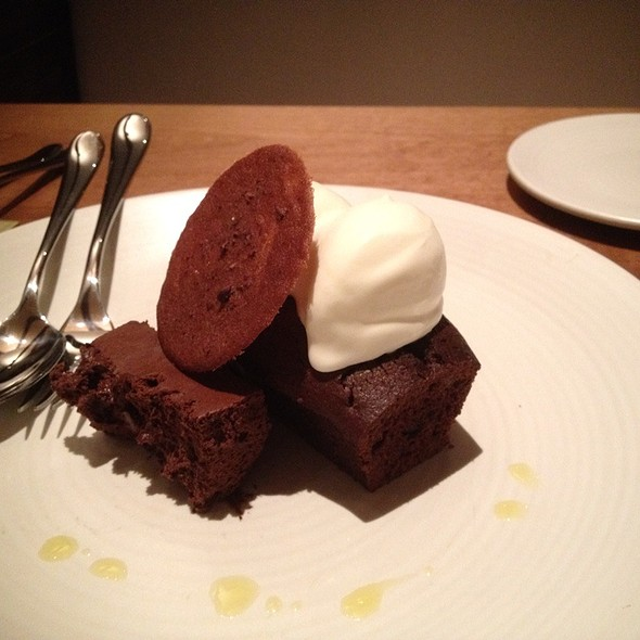Dark Chocolate & Bourbon Mousse, Chocolate Olive Oil Cake, Creme Fraiche Sherbert @ Dixie - Old Concept