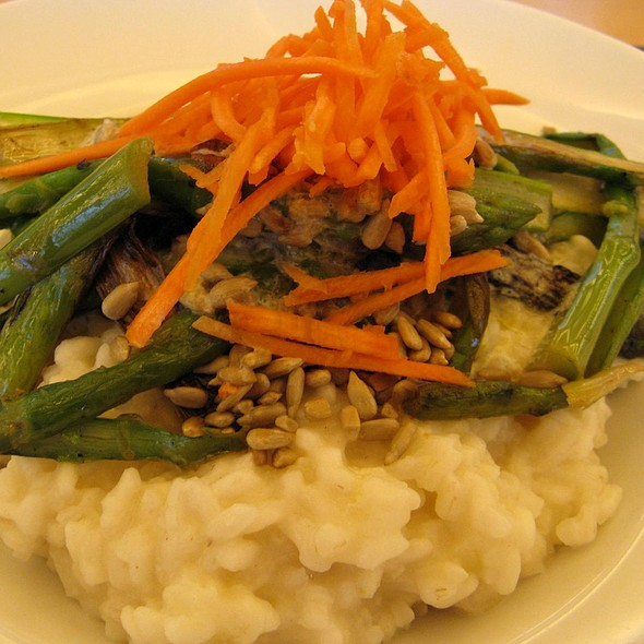 Green Asparagus with Roasted Sunflower Seeds, Risotto and Orange Espuma @ Paparazzi Restaurant