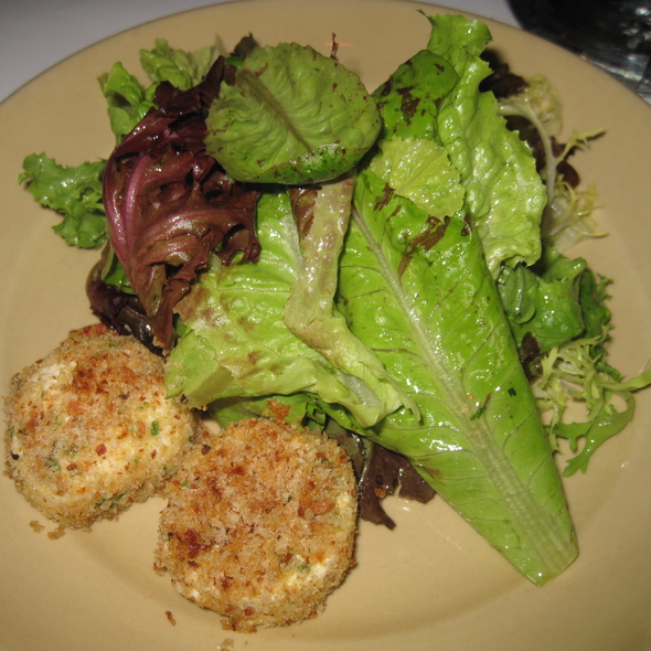 Baked Andante Dairy goat cheese with garden lettuces @ Chez Panisse