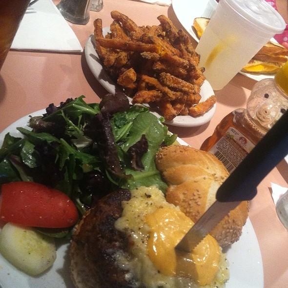 Jerk And Fontina Turkey Burger With Sweet Potato Fries
