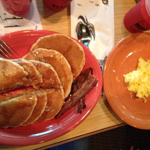 Pancakes & Bacon With Side Of Scrambled Eggs Cheesy @ Stanford's Restaurant & Bar