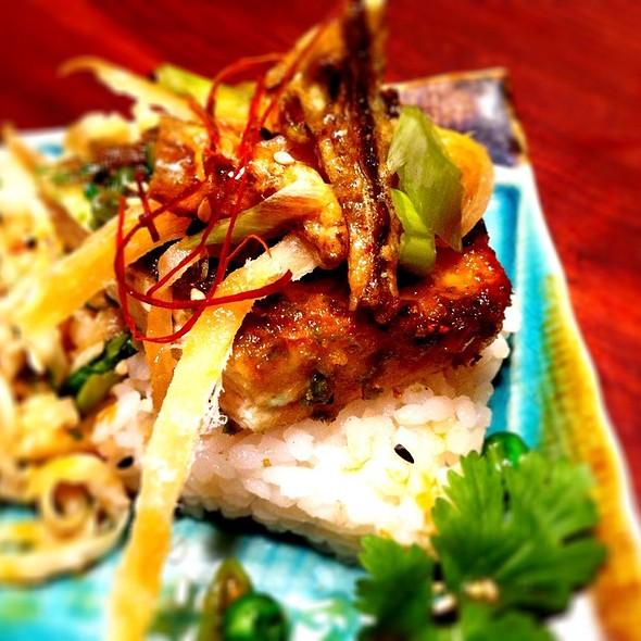 Wasabi Pea Crusted Tofu With Miso Slaw, Soft Saki Ika, Wasabi Sardines. @ Giddy Gastronaut Kitchen
