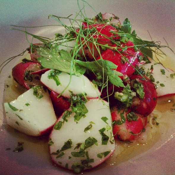 Radish With Lardo And Radish Top Gremolata @ One Eared Stag