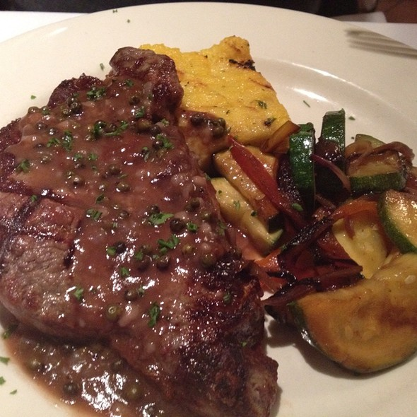 NY Strip Steak with Green Peppercorn Sauce - Tre Cugini, Grand Rapids, MI