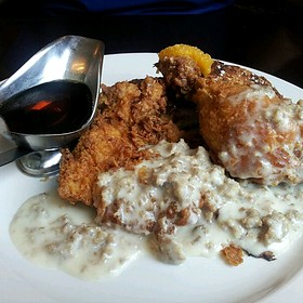 Fried Chicken With Sausage Gravy And Brioche French Toast