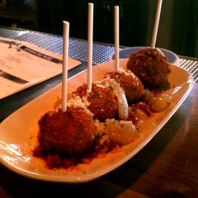 Meatball Lollipops In Marinara Sauce