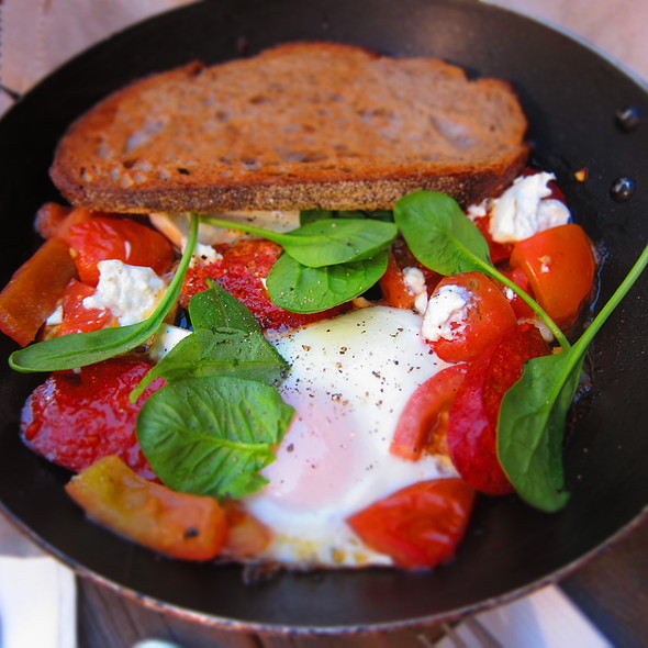 Baked Eggs, with Sucuk, Danish Feta, Cherry Tomato, Harissa, Hint of Chilli @ Circa Espresso