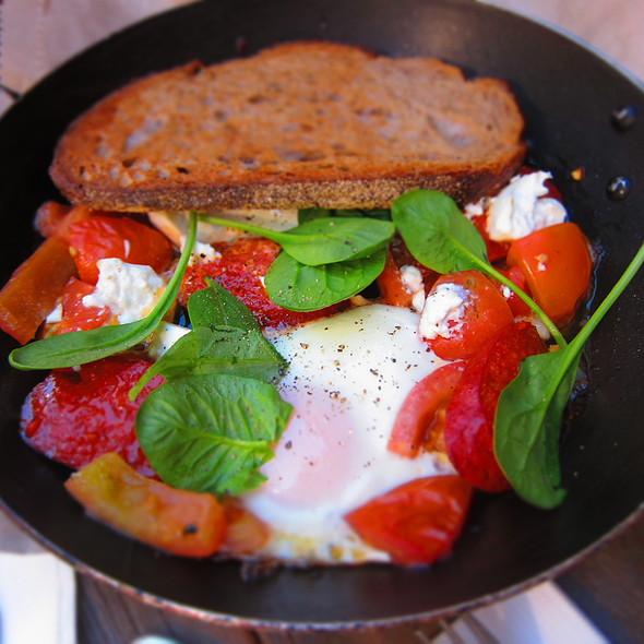 Baked Eggs, with Sucuk, Danish Feta, Cherry Tomato, Harissa, Hint of Chilli @ Circa Espresso