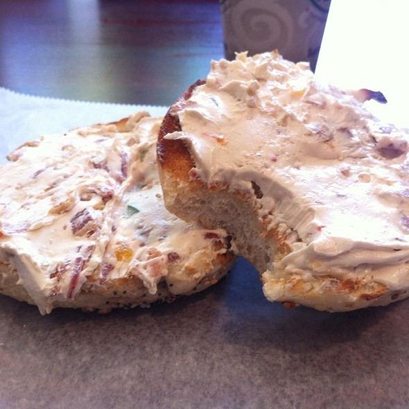 Everything Bagel With Bacon, Onion, Peppers Cream Cheese @ D's bagels & Brunch