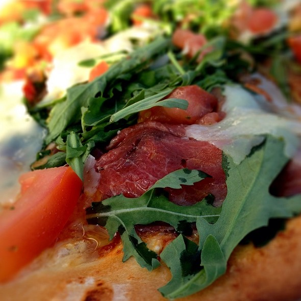 Pizza W/Carpaccio, Parmesan Cheese, Rucola And Chili @ Senzanome