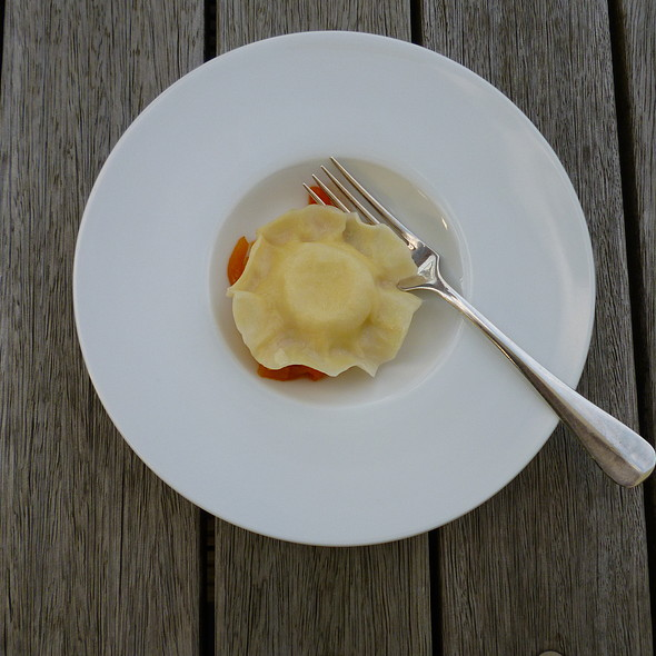Raviolo with Goat Cheese and Bell Pepper @ Lido
