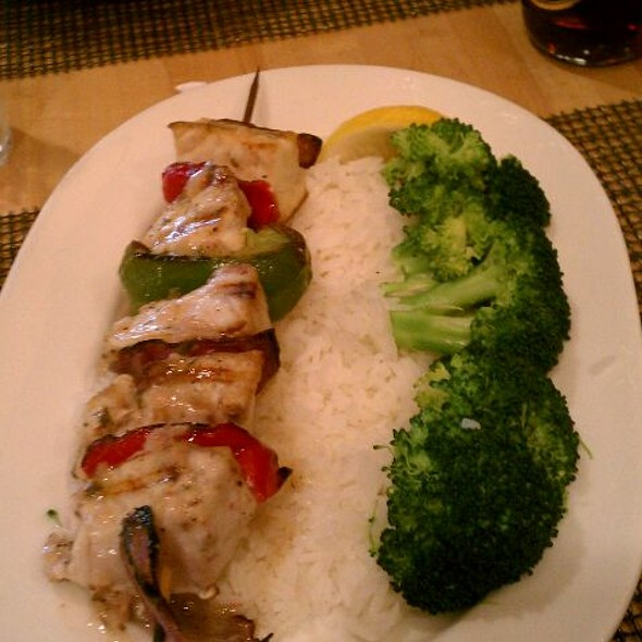 Swardfish Kabob With Peppers Jasmine Rice And Fresh Veggies @ Legal Test Kitchen