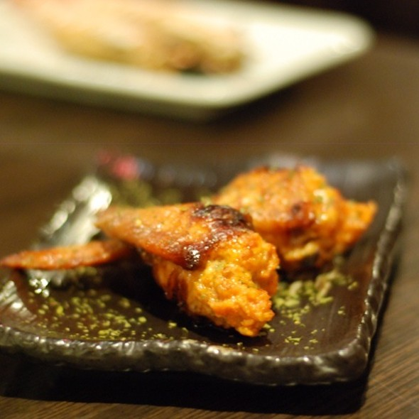 Grilled Chicken Wings With Salty Cod Roe @ 天狗串燒居食