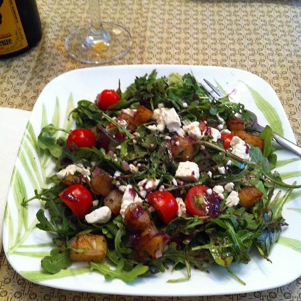 Wilted Arugula Salad With Crisp Potatoes, Feta & Warm Black Olive Vinaigrette @ Ye Olde Homestead