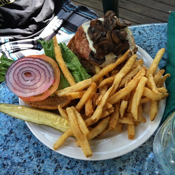 California Turkey Burger with Fries and Mushrooms - Charlie B's, Stowe, VT