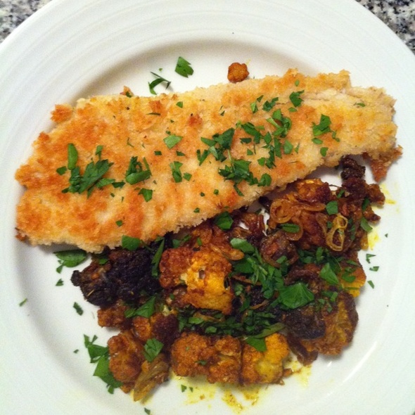 Local Flounder with Roasted Indian-spiced Cauliflower