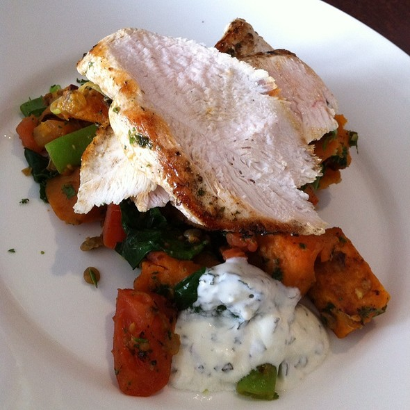 Grilled Chicken Breast, Sweet Potato, Spiced Lentil Salad W Yoghurt & Chutney