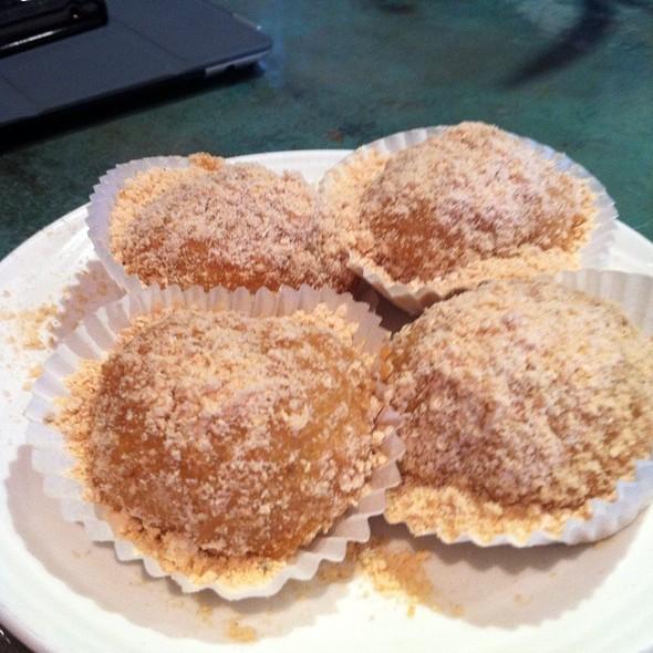 Soft Black Sesame Filled Ball W/ Peanut Powder @ Koi Garden